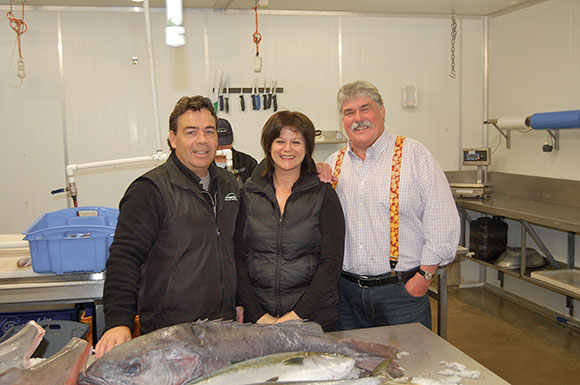Sandy and Craig with Ian Hewittson at the Fresh Fish Place