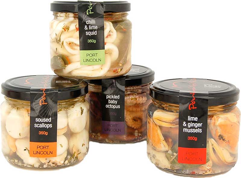 pickled seafood range in jars