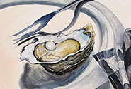 Oyster on plate painting