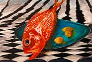 Red snapper with lemons painting by Sandy Harder