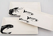 set of 3 tapas plates with printed fish designs
